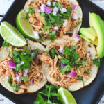 The BEST 5-ingredient Crockpot Chicken Tacos