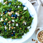 Kale & Blueberry Quinoa Salad with Warm Onion Balsamic Vinaigrette