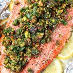 Baked Salmon with Pistachio Gremolata