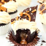 Dark Chocolate Salted Caramel Pretzel Cupcakes